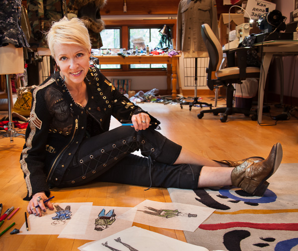 Portrait of Regine Bechtler in her Fashion Studio working on peace Jacket designs